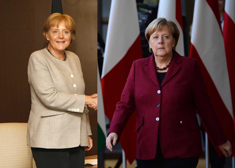 La actual canciller de Alemania, Angela Merkel, en el 2008 y en el 2018