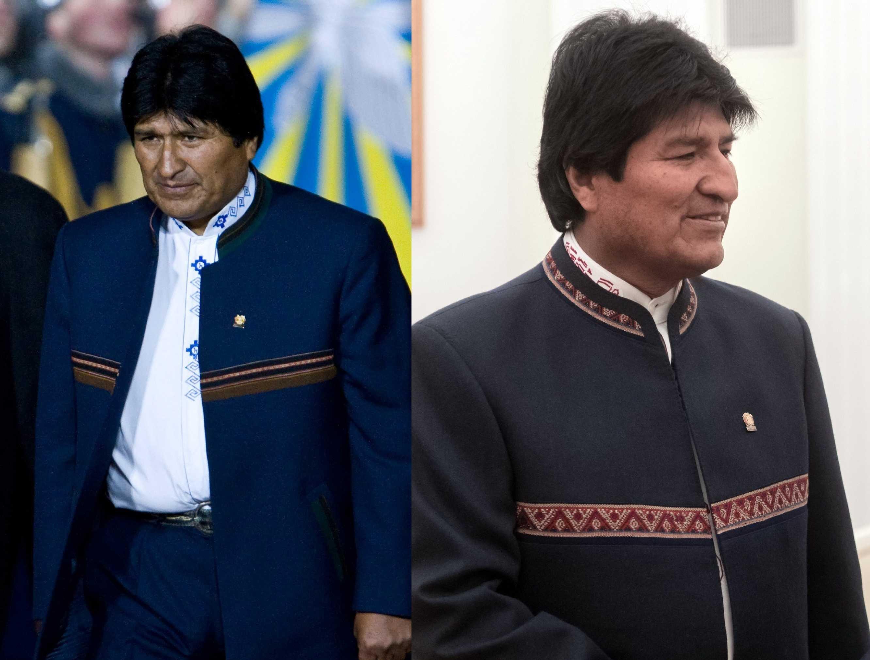 El actual líder boliviano, Evo Morales, en el 2009 / en el 2018
