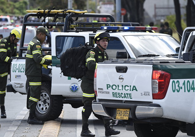 La policía de Colombia en Bogotá