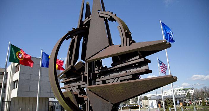 El símbolo de la OTAN y las banderas de Estados que forman parte del bloque militar.