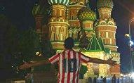 Bryan Badillo, hincha colombiano en Moscú (Rusia), durante el Mundial 2018