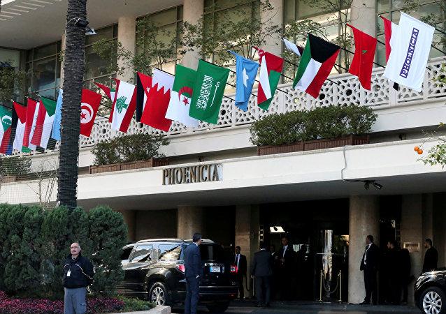 Las banderas de los países integrantes de la Liga Árabe