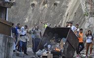 Protestas contra las autoridades venezolanas en Cotiza, Venezuela