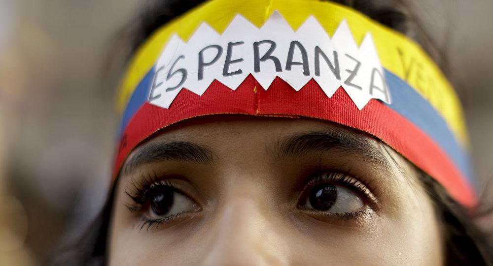 Una manifestante venezolana