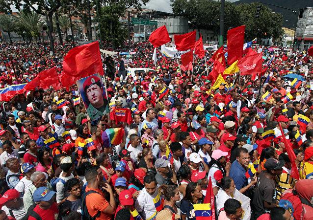 Una manifestación en apoyo a Nicolás Maduro en Venezuela