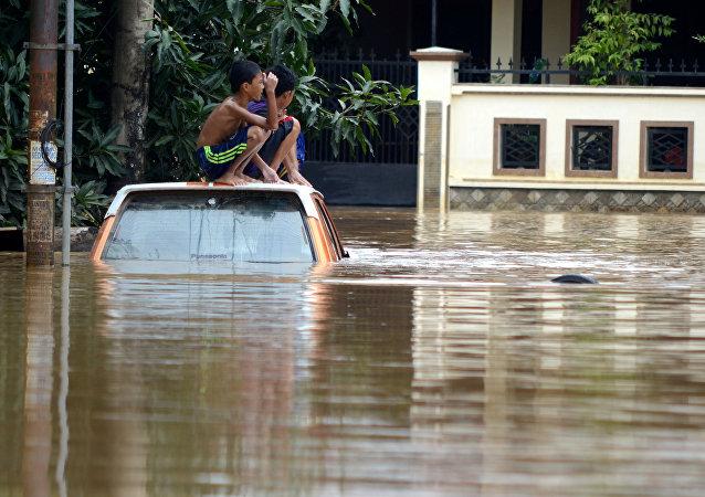 La inundación en Indonesia