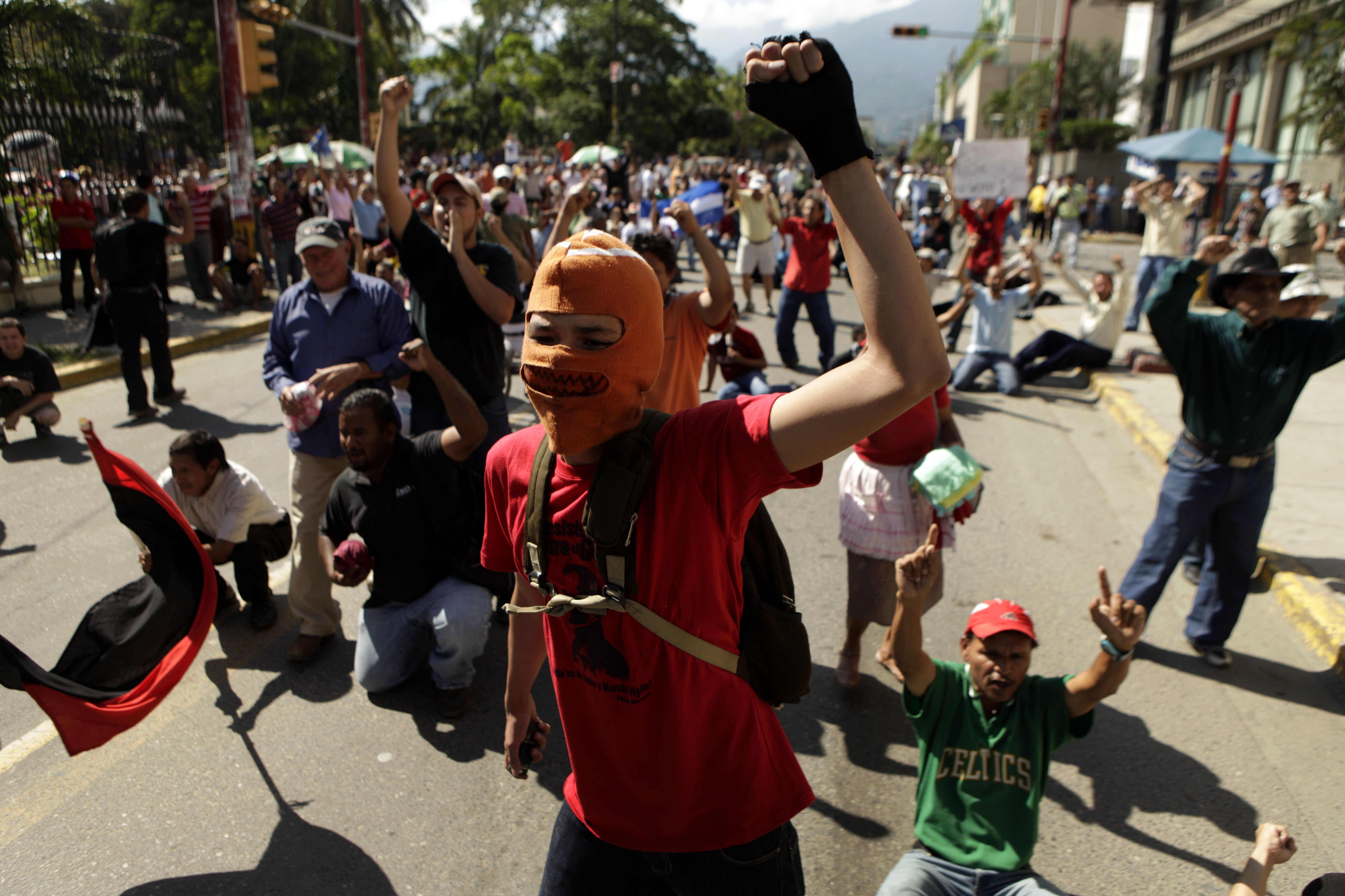 Manifestación de protesta en San Pedro Sula, 29 de noviembre de 2009