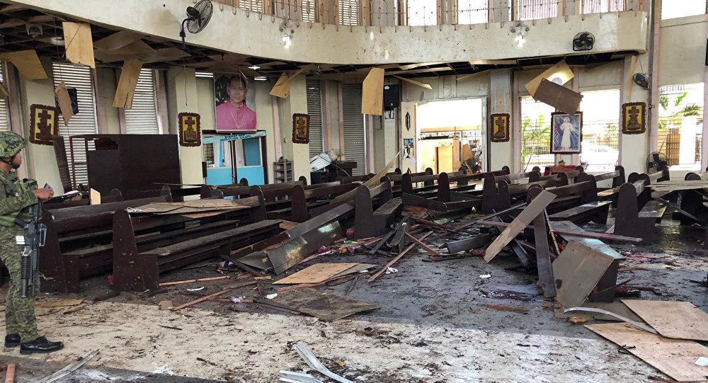 Lugar del atentado en Joló