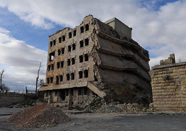 Edificio destruido en Aleppo, Siria