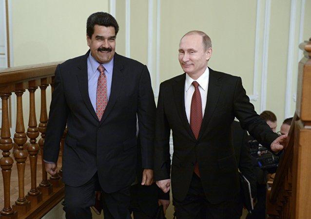 Vladímir Putin, presidente de Rusia, y Nicolás Maduro, presidente de Venezuela
