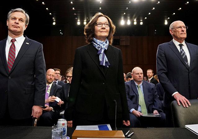 El director de Inteligencia Nacional, Dan Coats, la directora de la CIA, Gina Haspel, y el director del FBI, Christopher Wray