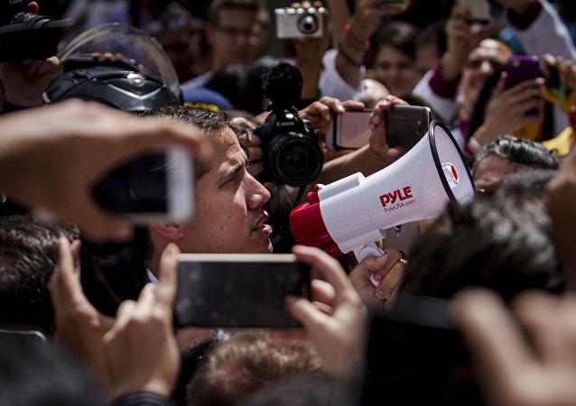 Juan Guaidó durante una manifestación de la oposición en Caracas