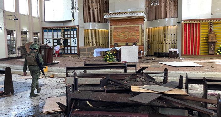 Lugar del atentado en Joló, Filipinas