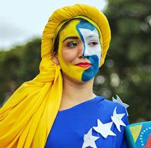 Marcha en apoyo al presidente de Venezuela, Nicolás Maduro, en Caracas, el 3 de febrero de 2019