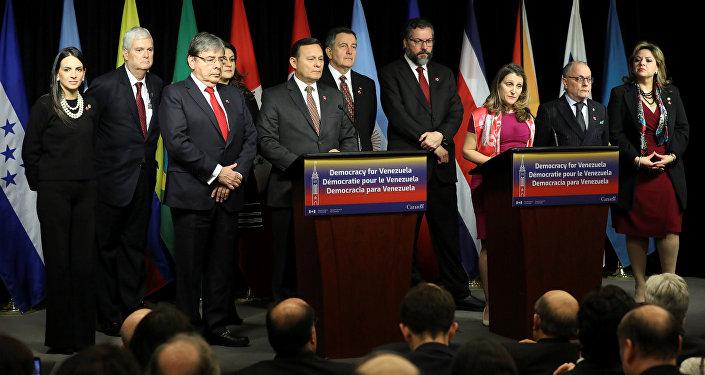 La ministra de Exteriores canadiense, Chrystia Freeland, interviene en la reunión del Grupo de Lima desde Ottawa