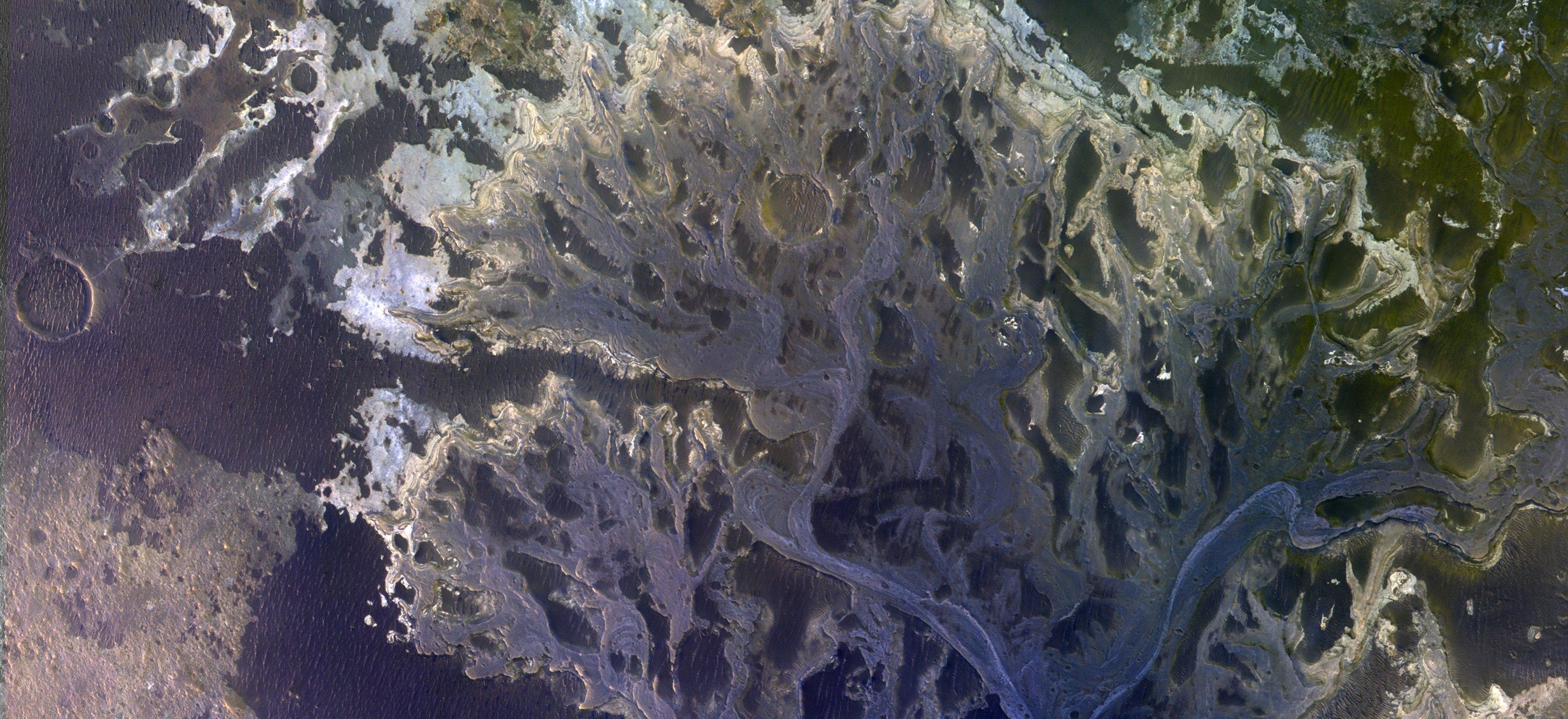 El delta de un río extinto en el cráter Eberswalde, en Marte