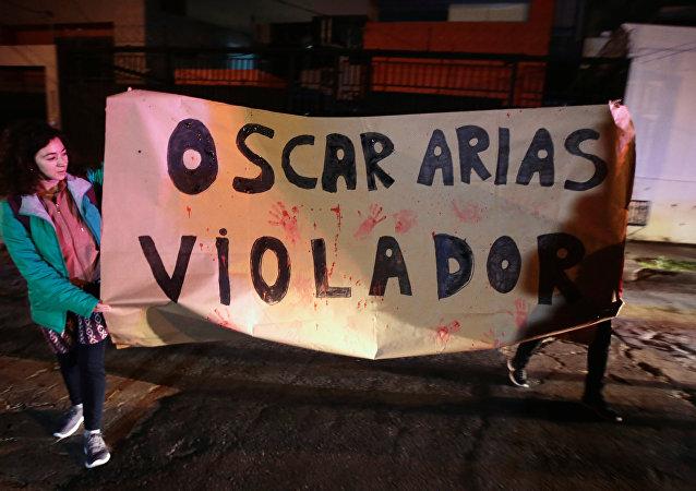 Manifestación de protesta contra Óscar Arias