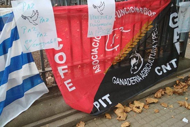 Banderas y carteles en la manifestación Diálogo y paz para Venezuela, convocada por el Pit-Cnt, el Encuentro Sindical Nuestra América y la Jornada Continental en Defensa de la Democracia y Contra el Neoliberalismo