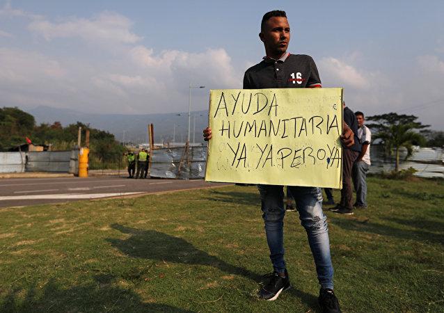 Manifestante venezolano en Cúcuta