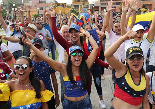 Una manifestación de protesta contra Nicolás Maduro