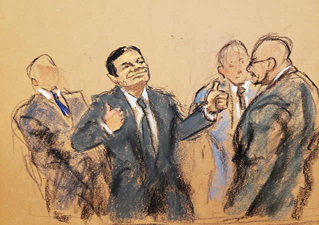 El Chapo Guzmán, dibujado en un esbozo de la corte que lo juzgó