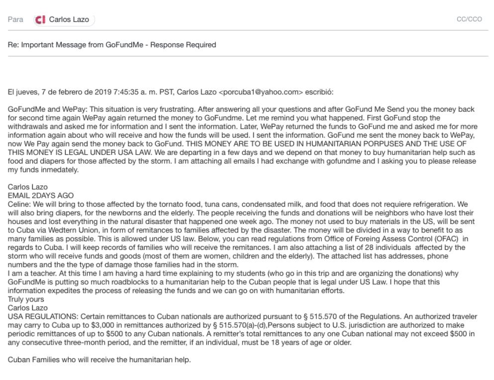 Hilo electrónico de mensajes entre el profesor cubano-estadounidense Carlos Lazo y la plataforma de crowfunding GoFundMe