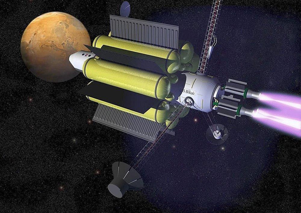 Representación artística de una futura nave espacial que utiliza un motor VASIMR