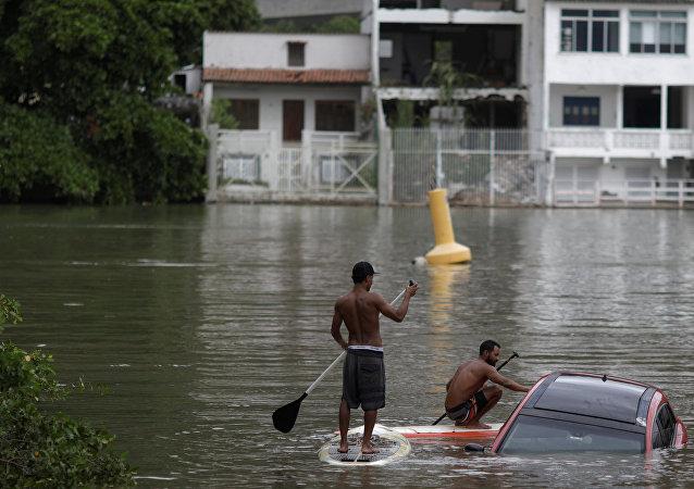 Inundaciones en Brasil, foto de archivo