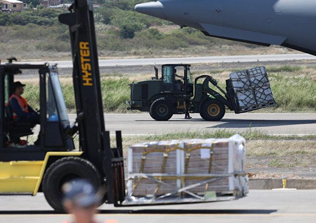 Ayuda Humanitaria llega al aeropuerto Camilo Daza en Cúcuta, Colombia