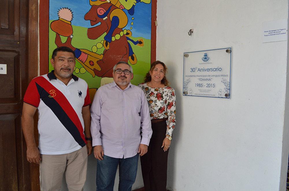 El director del plantel, Alberto Agustín Barceló y el subdirector de Educación del ayuntamiento, Aldo Díaz Novelo