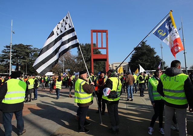 Las protestas de los 'chalecos amarillos' en Ginebra