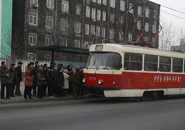 Tranvía en Pyongyang