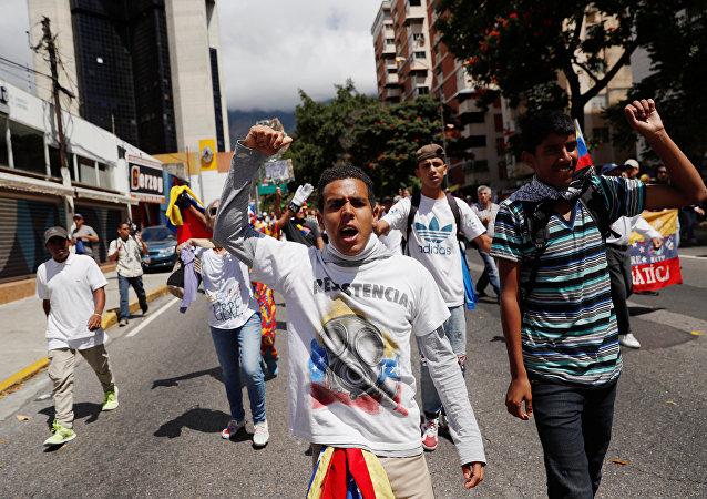 La marcha de los opositores en Caracas, Venezuela