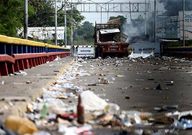 La situación en la frontera entre Venezuela y Colombia (el 24 de febrero)