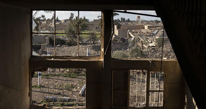 Un edificio destruido en Baguz