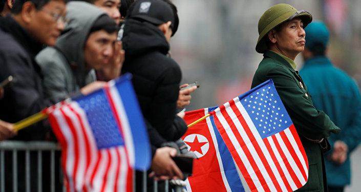 Banderas de Corea del Norte y EEUU
