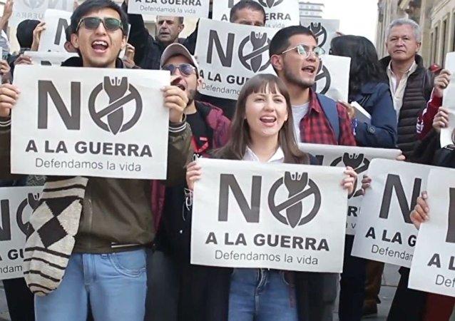 Protesta en Colombia contra la Cumbre de Lima sobre Venezuela