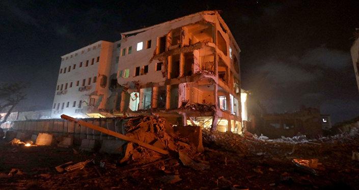 El lugar del atentado en la capital de Somalia, Mogadiscio