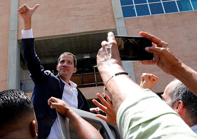 Juan Guaidó, el diputado opositor vnezolano, arriba a Caracas