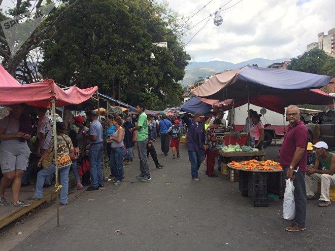 Un mercado de Caracas durante el feriado de Carnaval