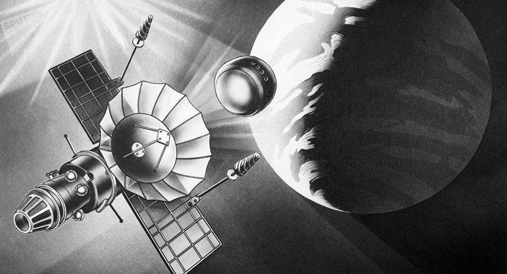 Ilustración de la estación interplanetaria automática soviética Venera-9 y su vehículo de descenso