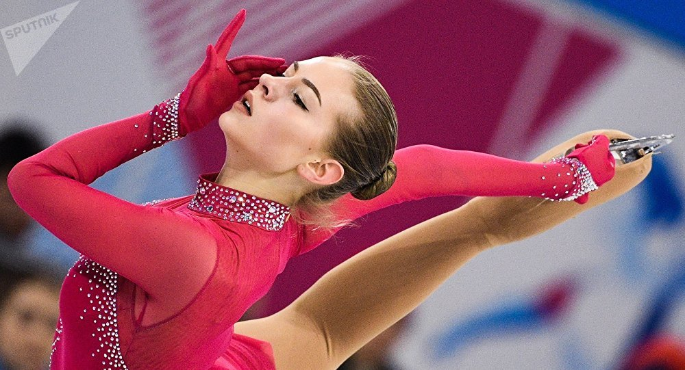 Una patinadora de Letonia en la Universiada 2019 en Rusia