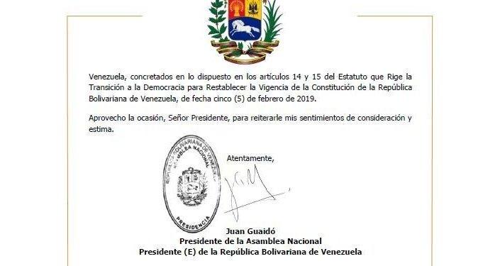 Firma de Juan Guaidó sobre la solicitud enviada al 'presidente de Suiza'
