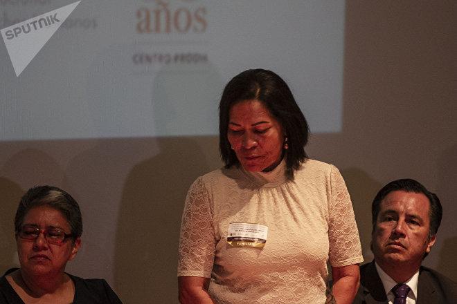María del Carmen Díaz Galindo durante la disculpa pública por la desaparición forzada de cinco jóvenes en Tierra Blanca, Veracruz, en 2016.