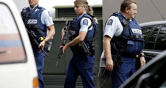 Patrulla policial tras el ataque a mezquitas de Christchurch (Nueva Zelanda)