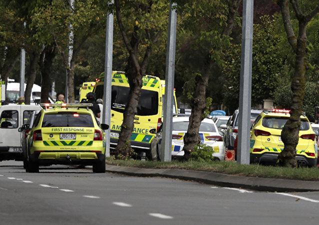 La ambulancia de Nueva Zelanda en el lugar del ataque