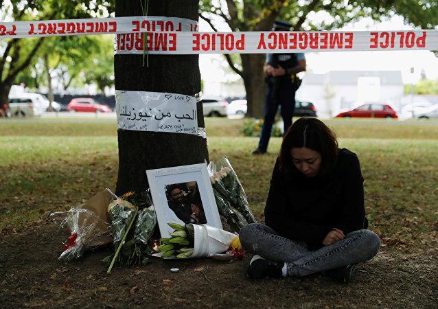 Lugar del homenaje a las víctimas del tiroteo en Chistchurch, Nueva Zelanda