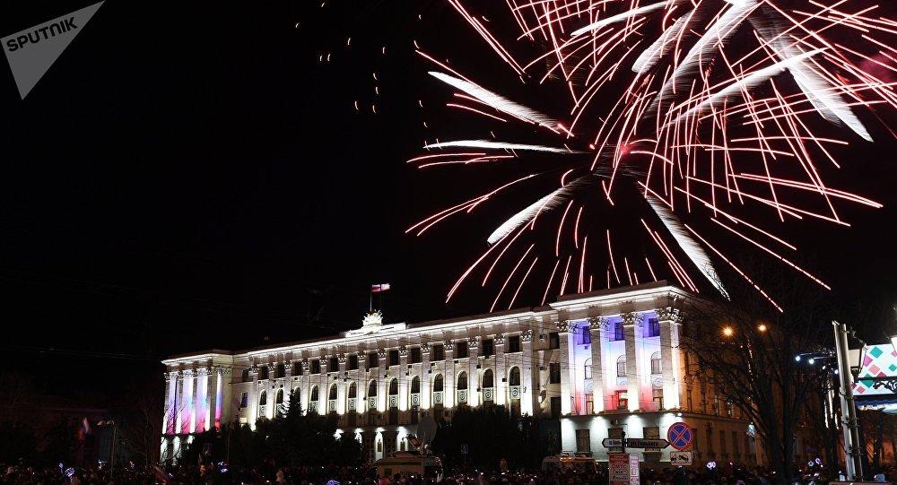 Los fuegos artificialles en Crimea