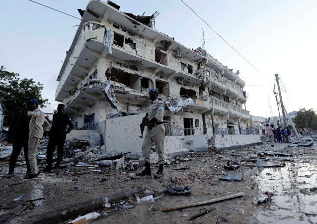 Una casa destruida en Somalia