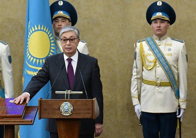 Kasim-Zhomat Tokáev, durante la toma de posesión como presidente interino de Kazajistán